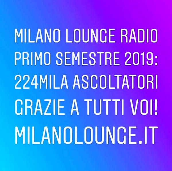 Ottimi ascolti per Milano Lounge Radio nel periodo Gennaio-Giugno 2019